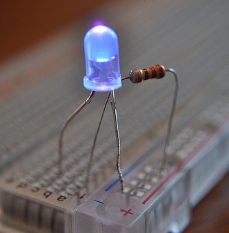This resistor dims the LED